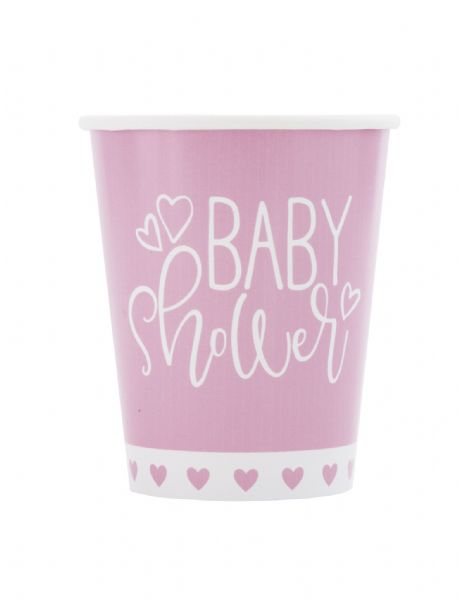Pink Hearts Baby Shower Paper Cups (8)